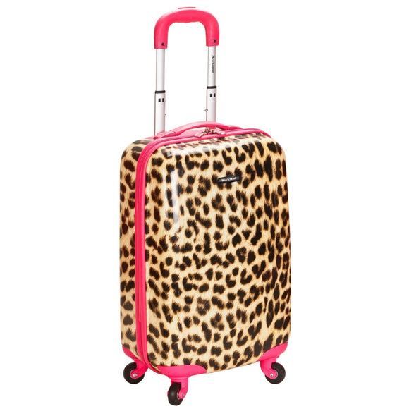 Girls Pink Trim Leopard Hardtop Luggage Cheetah Animal Upright Carry - Diamond Home USA