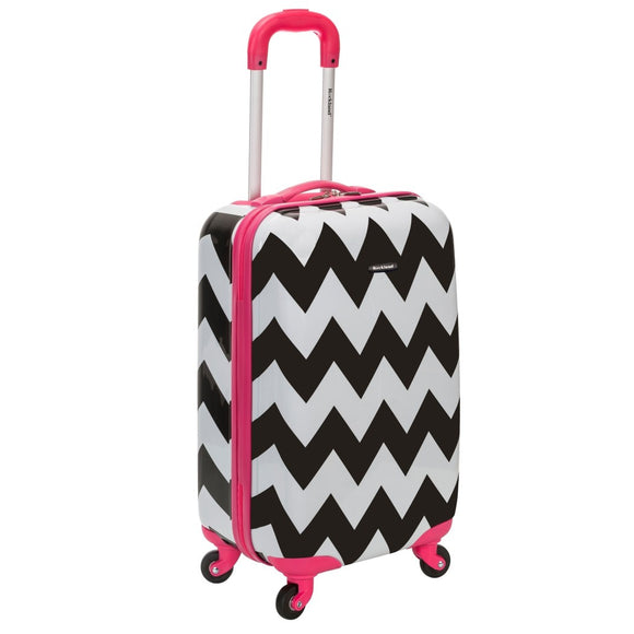 Girls Black White Chevron Themed Carry Suitcase Hardtop Pink Trim Luggage - Diamond Home USA