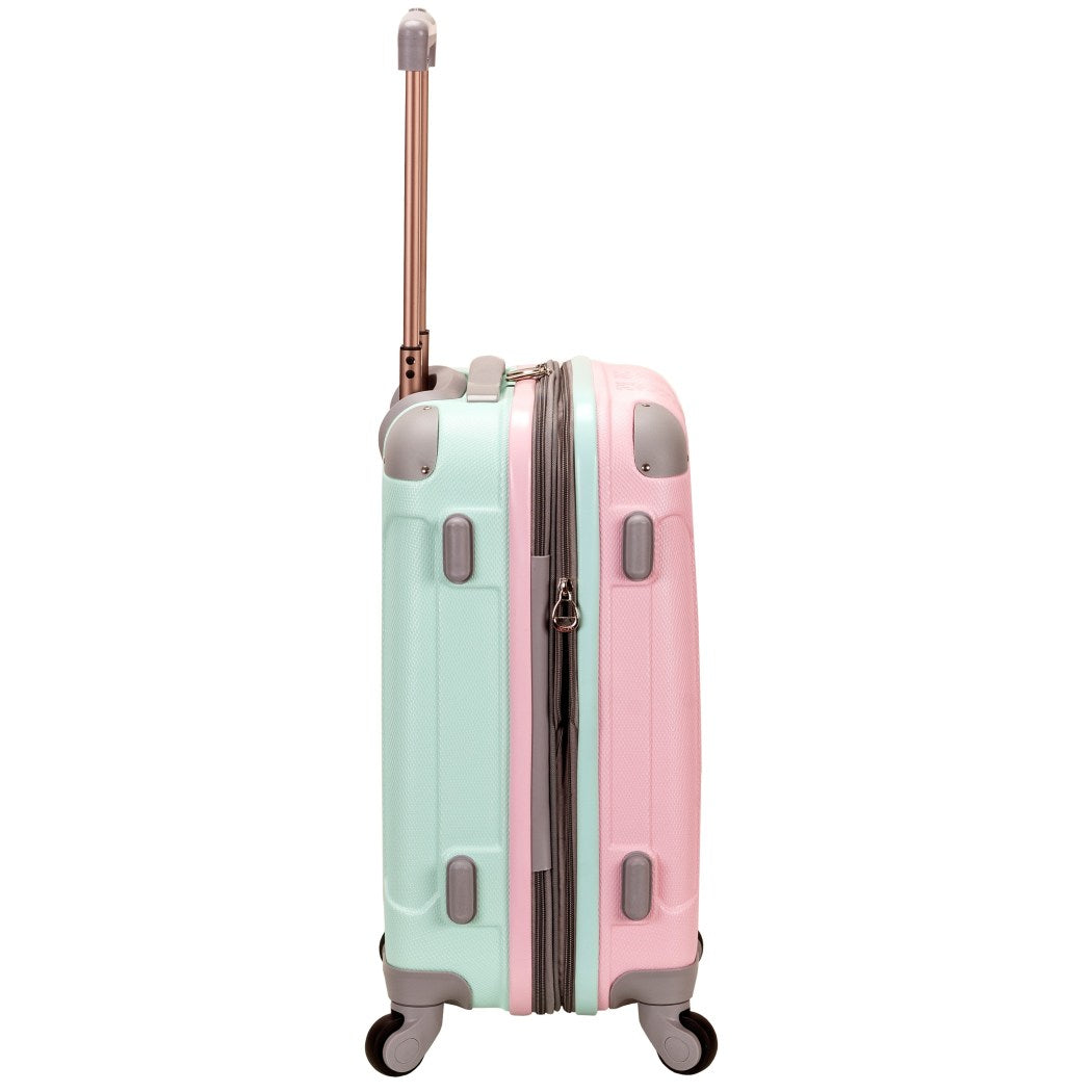 Girls Pink Horizontal Striped Hardtop Carry Suitcase Stripe Themed Luggage - Diamond Home USA