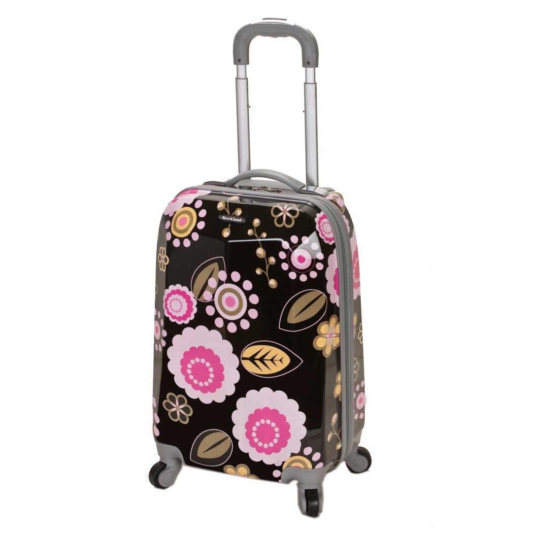Girls Pink Flower Carry Suitcase Hardtop Floral Daisy Themed Flowers Luggage - Diamond Home USA