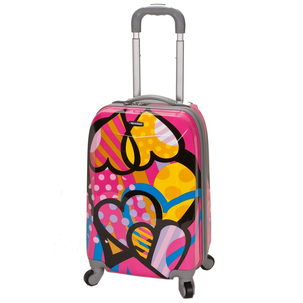 Girls Cute Pink Hearts Carry Suitcase Hardtop Blue Heart Themed Luggage - Diamond Home USA