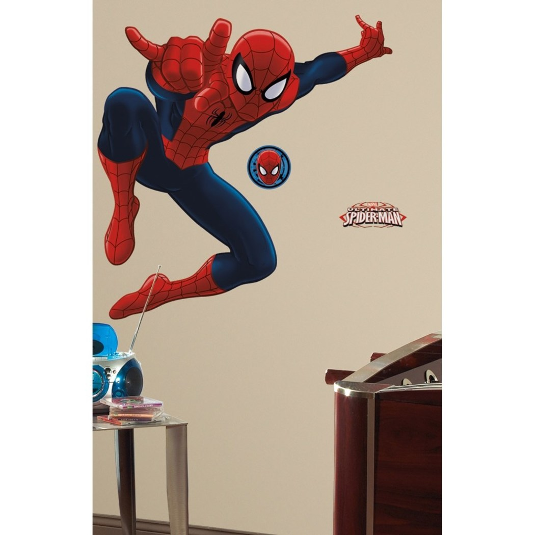Red Blue White Kids SpiderMan Wall Decals Set Marvel Themed Wall Stickers Peel Stick Avengers Web Slinging Comics Superhero Spiderman Cartoon Decorative Mural Art Vinyl - Diamond Home USA