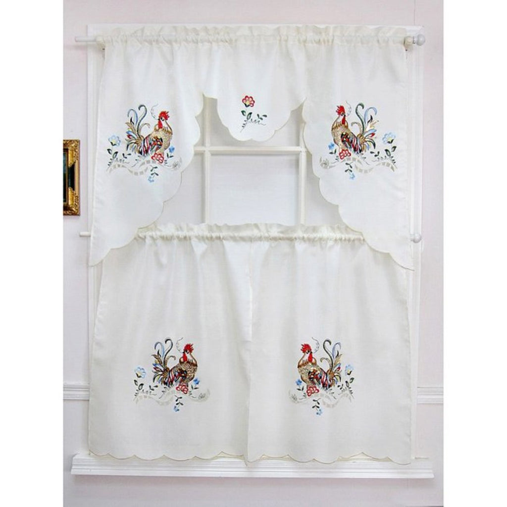 Rooster Kitchen Tiers Valance Set Chicken Kitchen Curtains Log Cabin Lodge Cottage Animal Window Treatment Morning Country