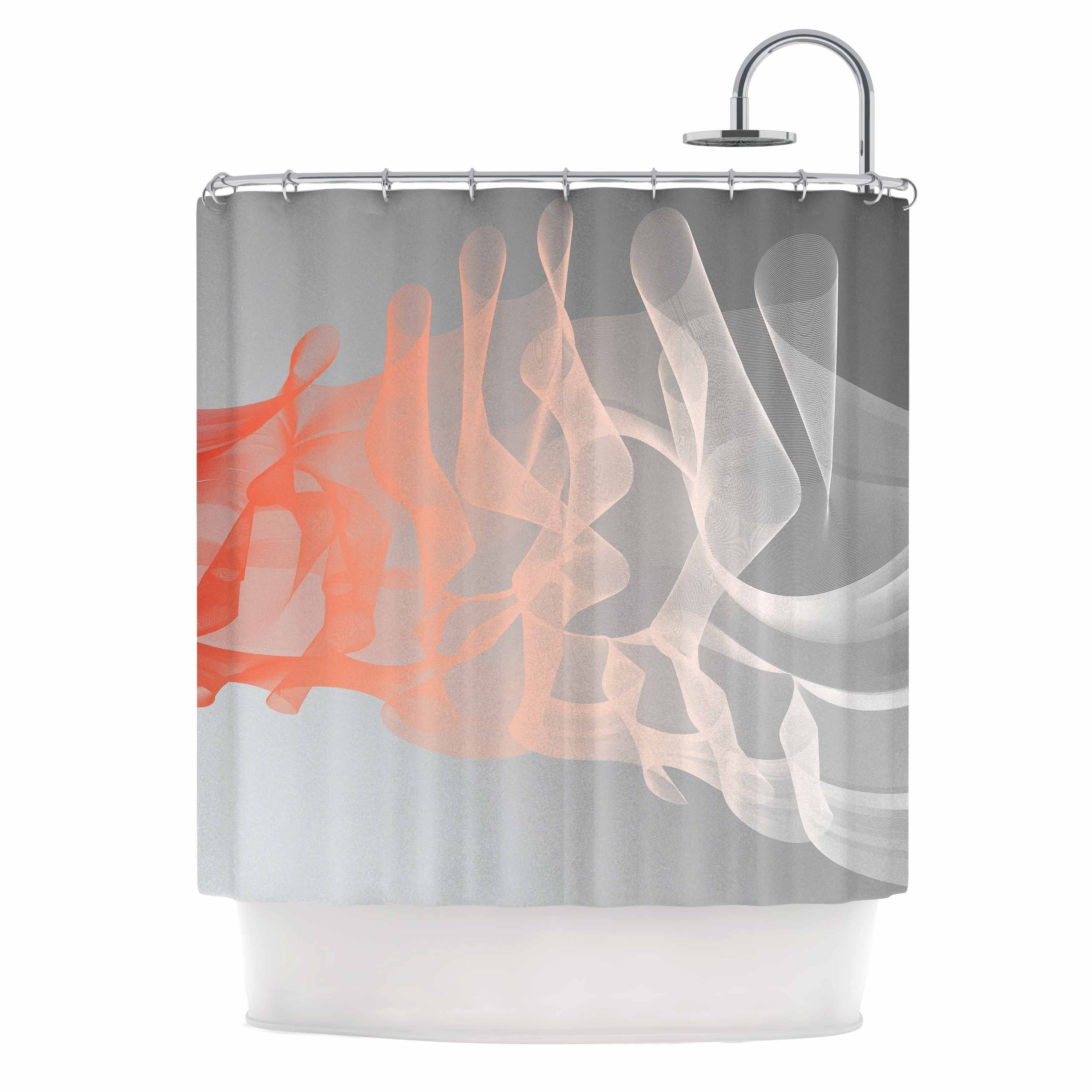 "Rosa Picnic "" Indifference"" Coral Gray Abstract Contemporary Digital Vector Shower Curtain Grey Polyester - Diamond Home USA"