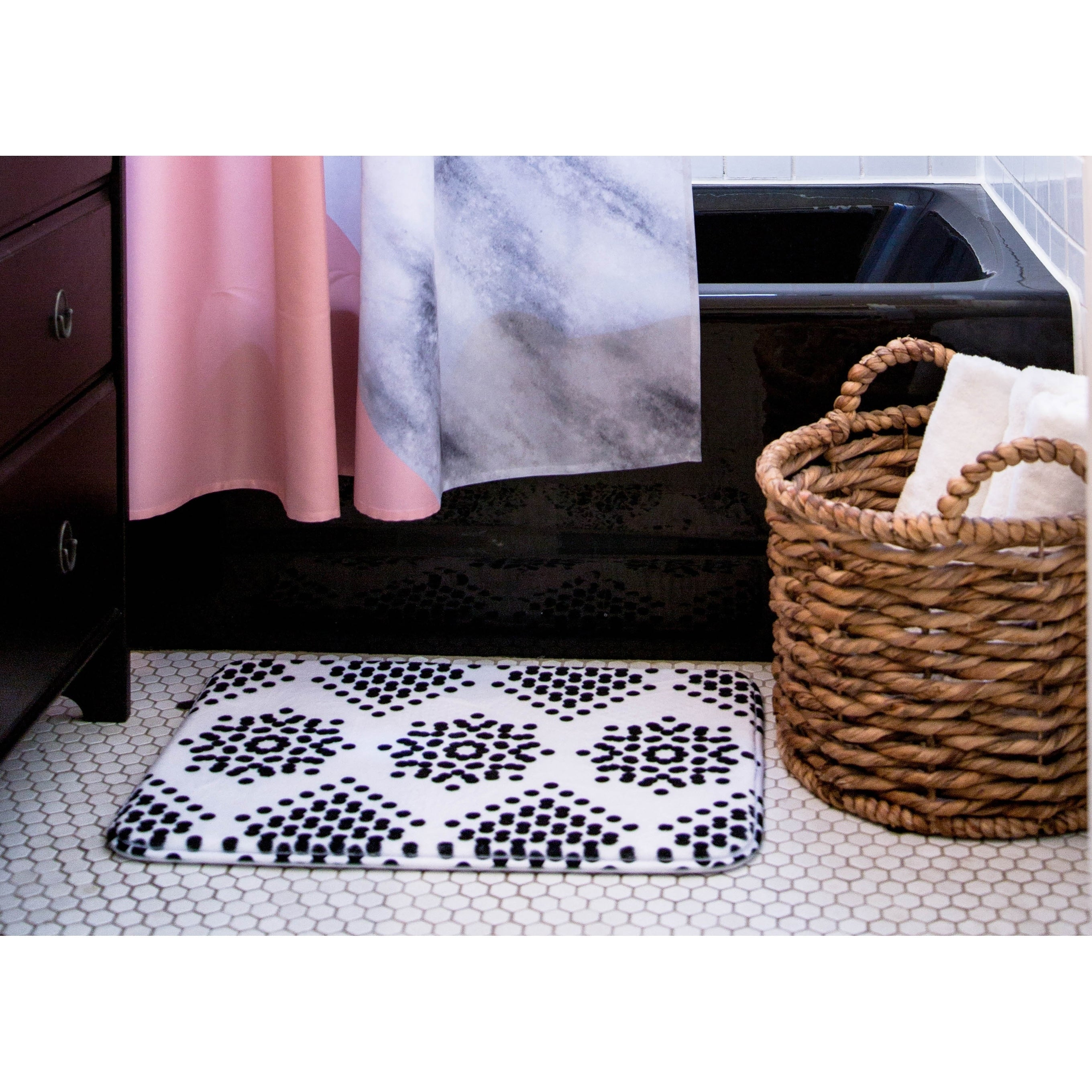 "Rosa Picnic ""Untitled-1-a"" Memory Foam Bath Mat Blue Single Piece - Diamond Home USA"