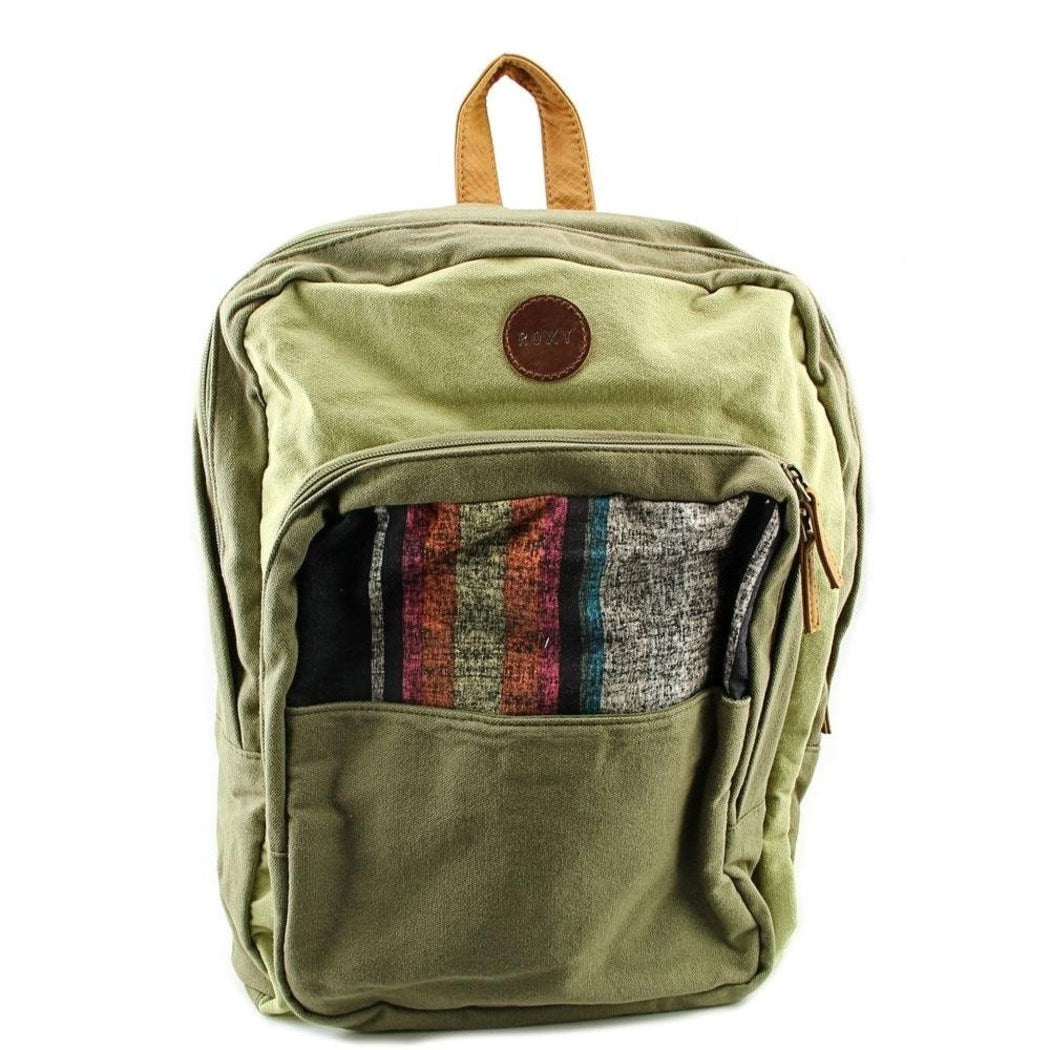 Girls Green Canvas Theme Backpack Bag Pretty Art Work Compartments Comfortable Colorful Stripes Shoulder Strap Top Handle - Diamond Home USA