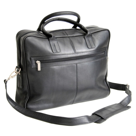 Black Attorney Briefcase Colombian Leather Adjustable Strap Laptop Compartment - Diamond Home USA
