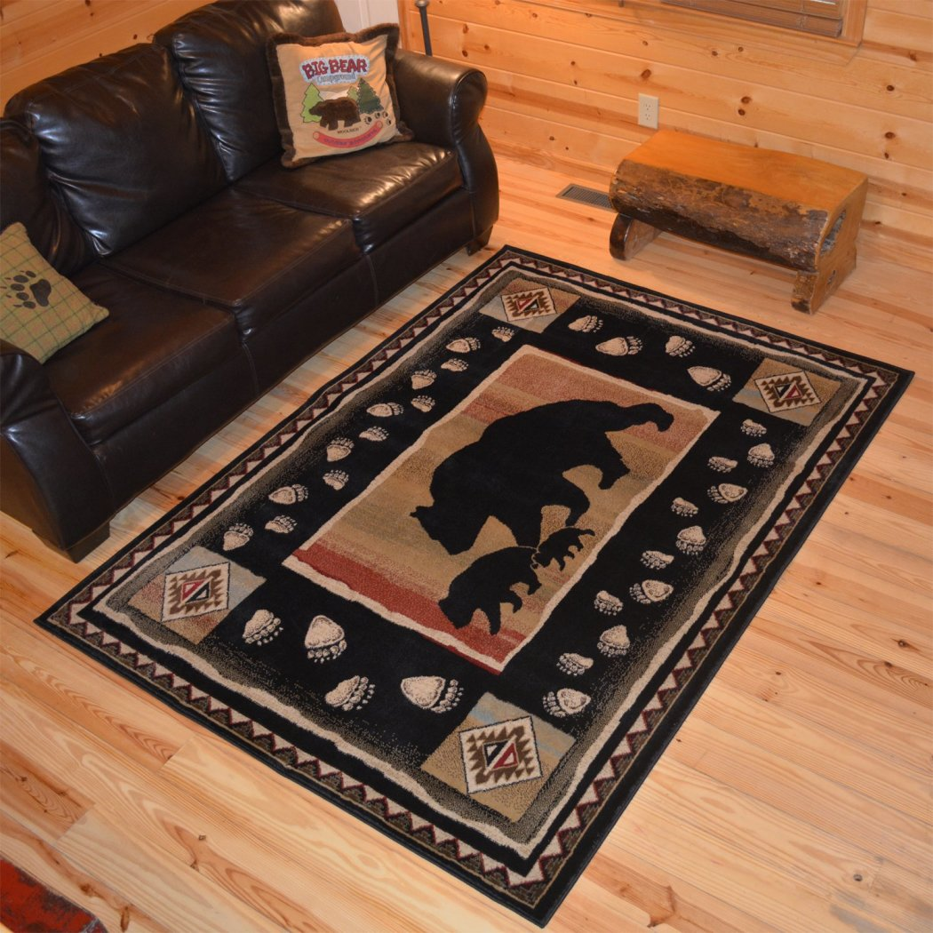5'3 x 7'3 Black Southwest Animal Area Rug Rustic Southwestern Lodge Cabin Cottage Theme Deer Carpet Geometric Medallion Diamond Shape Hunting Bear - Diamond Home USA