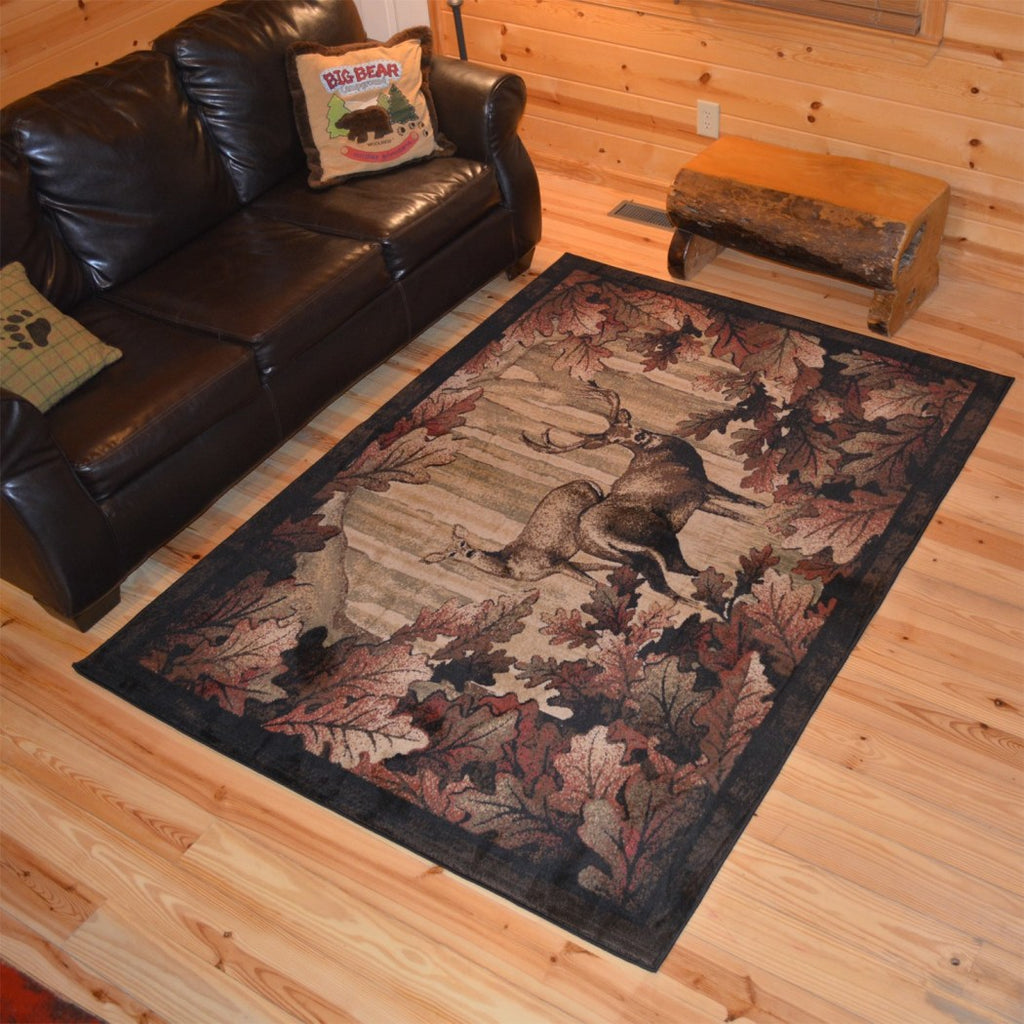 Wildlife Deer Themed Area Rug Lodge Hunting Animal Game Flooring Cabins Cottages Home Living Room Rustic Nature Inspired Rectangle Carpet Mat Stain - Diamond Home USA
