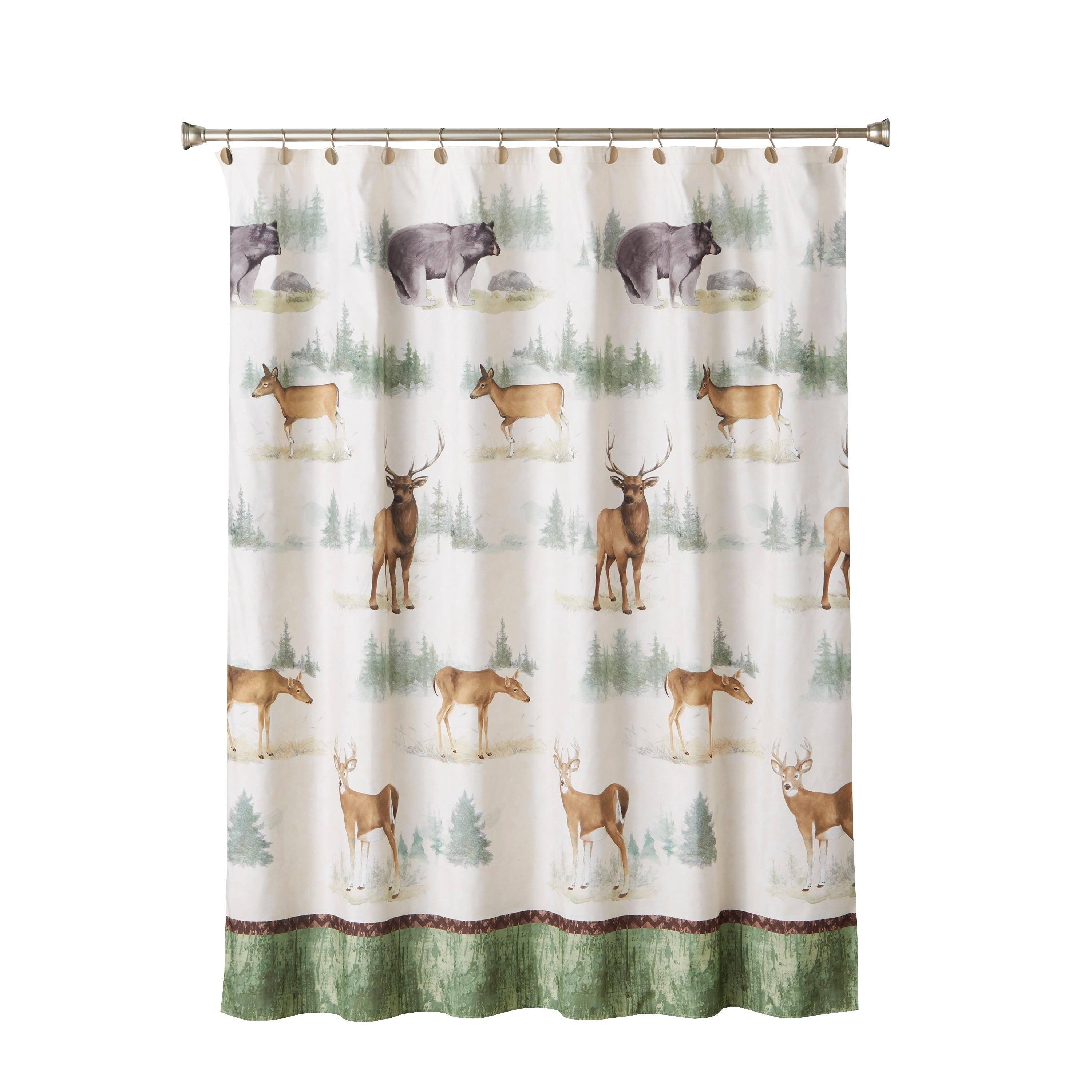 Home Home On The Range Shower Curtain Brown Novelty Cabin Lodge Polyester - Diamond Home USA