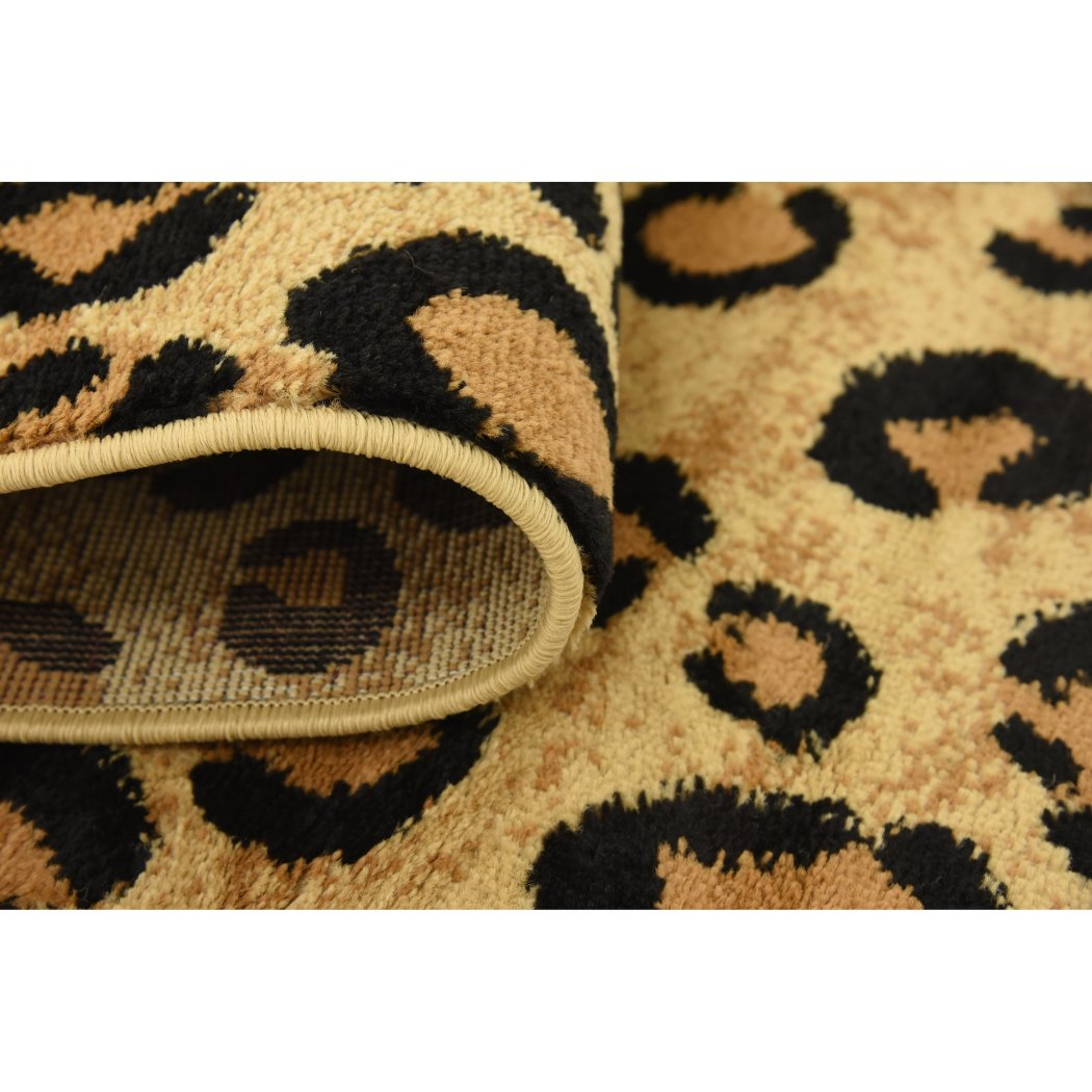 "3'2""x5'2"" Tan Brown Black Leopard Dots Printed Area Rug Indoor Graphical Pattern Living Room Rectangle Carpet Africa Themed Soft Synthetic Wild - Diamond Home USA"