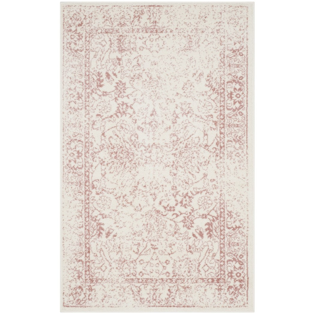 3'x5'ft Neutral Ivory Rose Pink Unique Oriental Patterned Distressed Area Rug Indoor Bohemian Living Room Mat Rectangle Carpet Floral Transitional - Diamond Home USA