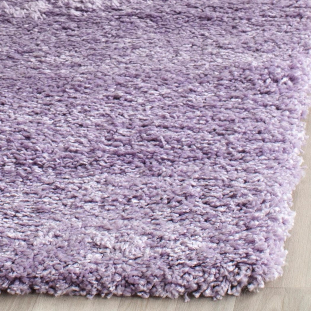 Crafted Light Purple Shag Woven Area Rug (2'3 x 7') Bright Cozy Solid Pattern Vivid Pop Color Luxurious Comfort Plum Colored Floor Carpet - Diamond Home USA