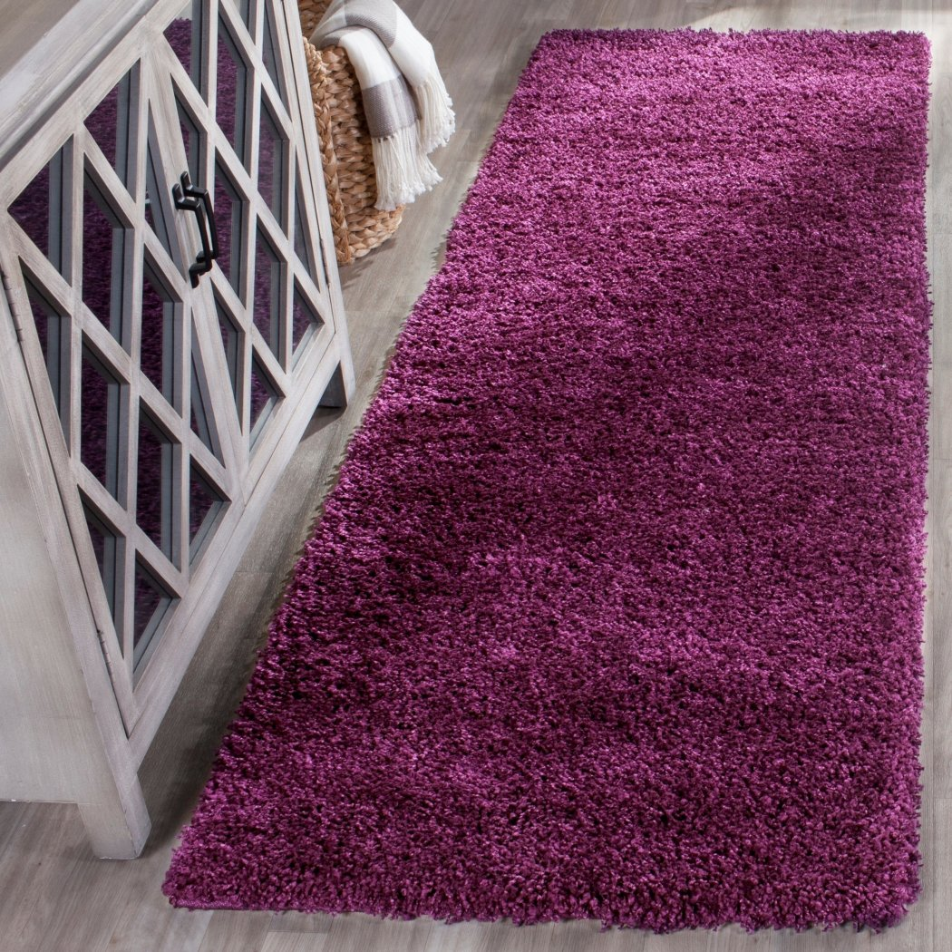 Crafted Light Purple Cozy Shag Area Rug (2'3 x 7') Abstarct Solid Pattern Vivid Pop Color Luxurious Comfort Plum Colored Floor Carpet - Diamond Home USA