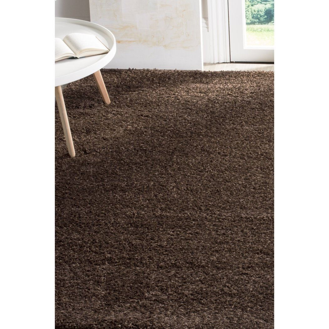 3ft X 5ft Solid Espresso Brown Shag Rug Cozy Plush Chocolate Themed Rectangle Area Carpet Soft Thick Weave Luxurious Comfort Vivid Colors High Pile - Diamond Home USA