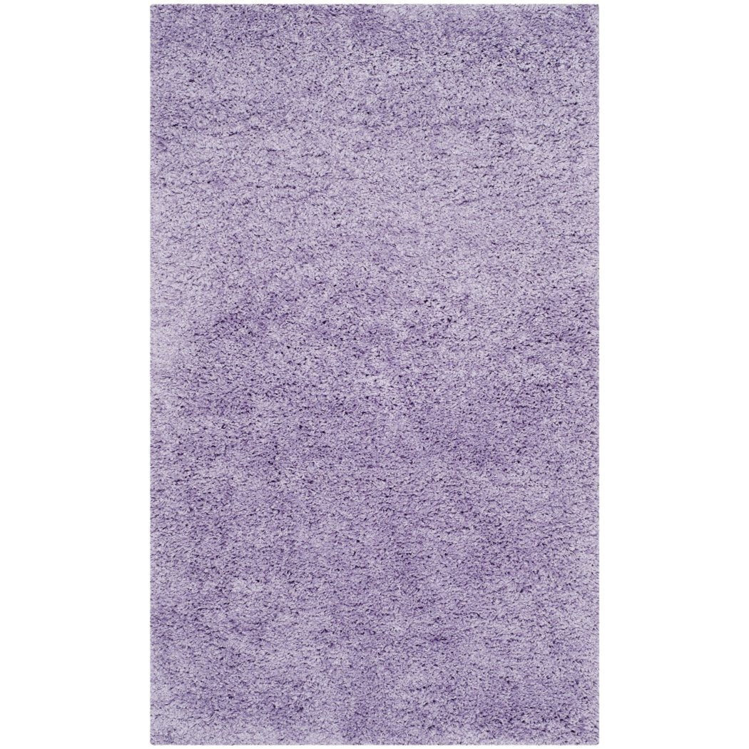 Crafted Light Purple Shag Woven Area Rug (3' x 5') Bright Cozy Solid Pattern Vivid Pop Color Luxurious Comfort Plum Colored Floor Carpet - Diamond Home USA