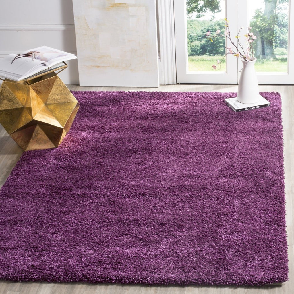 Crafted Light Purple Cozy Shag Area Rug (3' x 5') Abstarct Solid Pattern Vivid Pop Color Luxurious Comfort Plum Colored Floor Carpet - Diamond Home USA