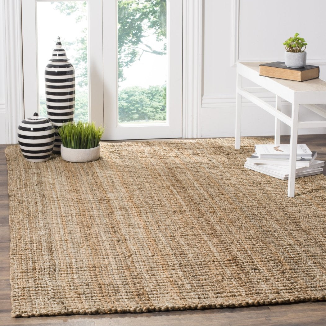 3Ft X 5Ft Natural Fiber Thick Jute Rug Hand Woven Chunky Area Carpet Tranquil Organic Ambiance Dark Beige Textured Bohemian Hippie Neutral Eco - Diamond Home USA