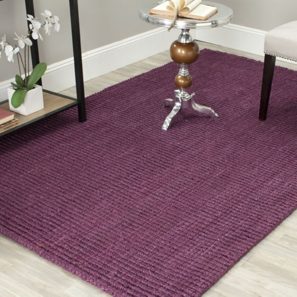 Hand Tufted Purple Chunky Thick Jute Area Rug (2'6 x 4') Stripe Abstact Solid Pattern Luxurious Comfort Plum Colored Floor Carpet - Diamond Home USA