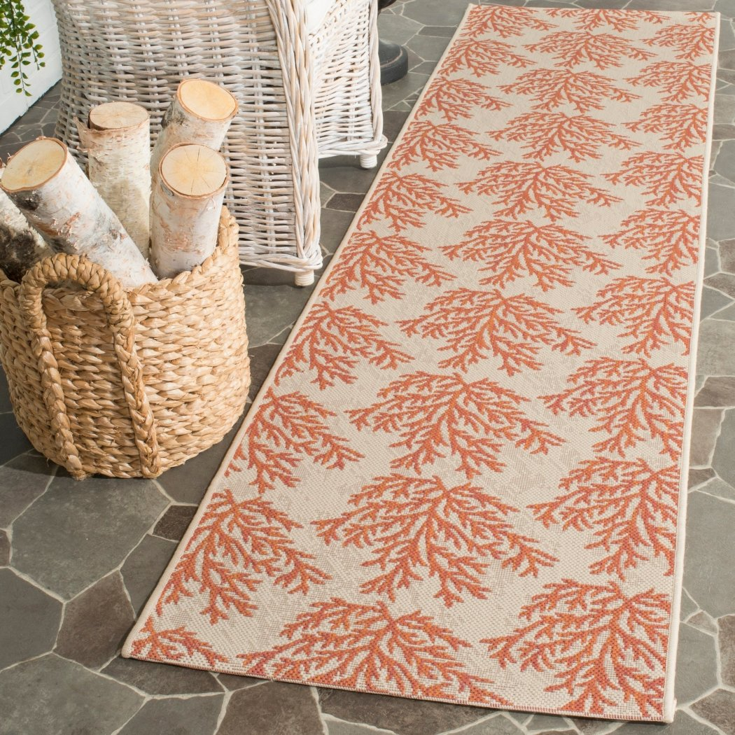 2'3 x 8' Orange Tan Coral Pattern Runner Rug Rectangle Beige Beach Theme Runner Rug Geometric Floral Reef Patterned Floor Cover Coastal Nautical - Diamond Home USA