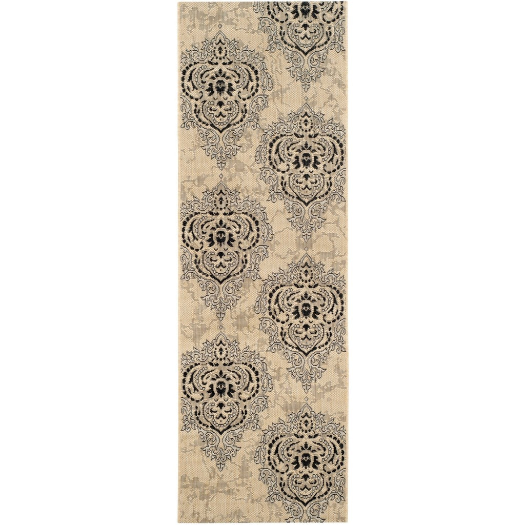 "2'x3'7"" Classic Damask Flowers Motif Printed Runner Rug Indoor Outdoor Border Pattern Living Room Rectangle Carpet Graphic Art Themed"