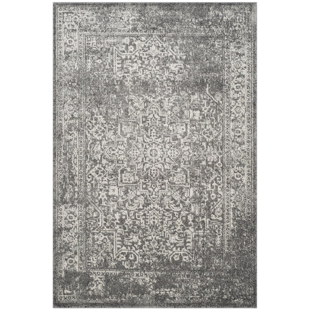 4'x6'ft Grey Ivory Oriental Distressed Area Rug Indoor Medallion Patterned Bedroom Dining Living Room Mat Rectangle Carpet Geometric Artfully Crafted - Diamond Home USA