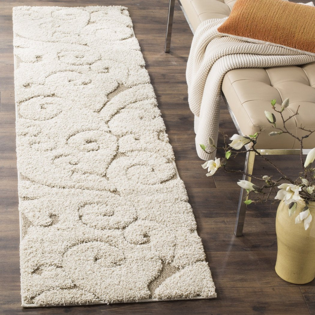 Off White Cream Beige Shag Scrollwork Runner Rug Pretty Floral Long Carpet Motif Scrolling Vine Accents Pattern Entraceway Hallway Flooring - Diamond Home USA