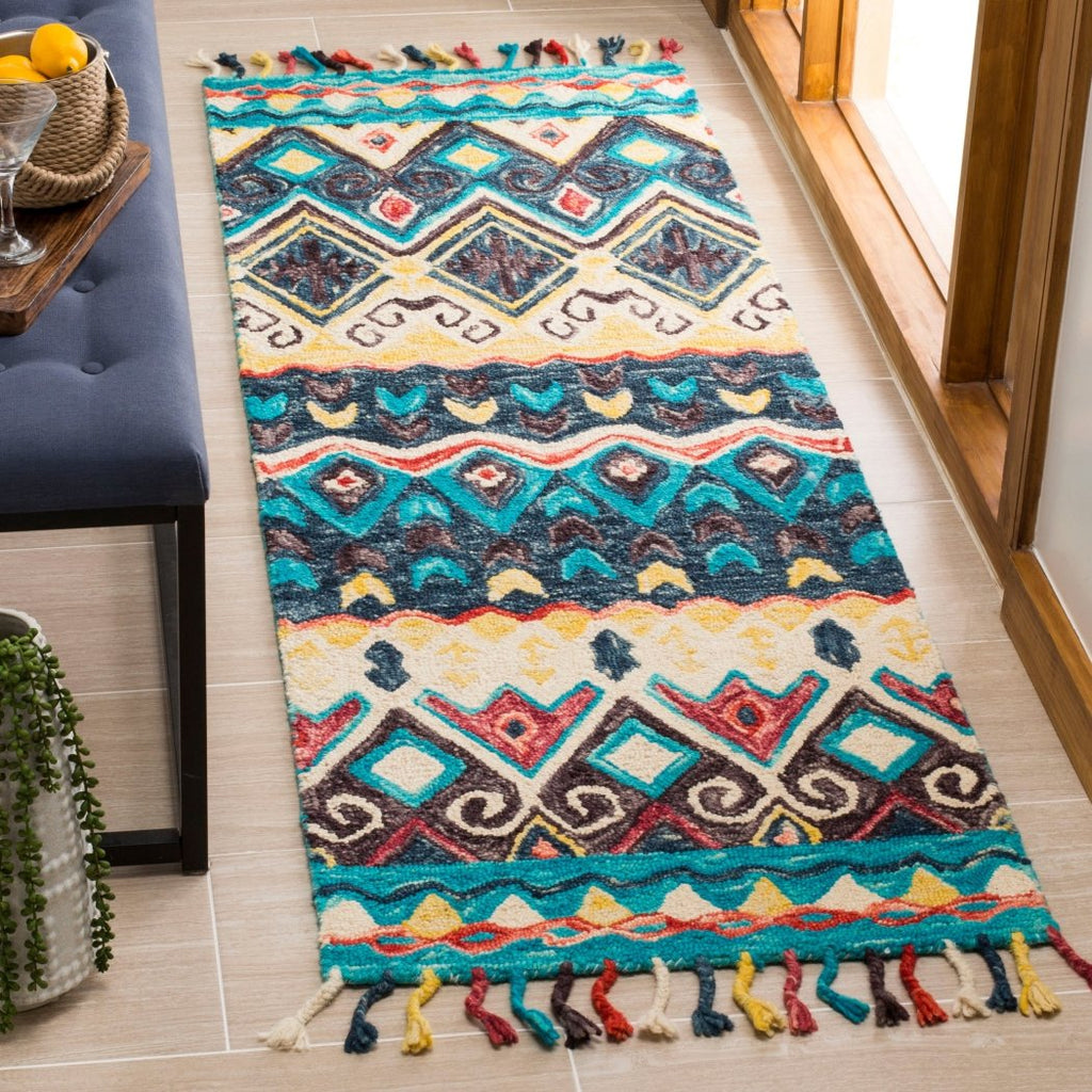 2'3 x 7 Blue Red Southwest Theme Runner Rug Rectangle Indoor Teal Grey Tribal Pattern Hallway Carpet Southwestern Native American Entryway Aztec - Diamond Home USA