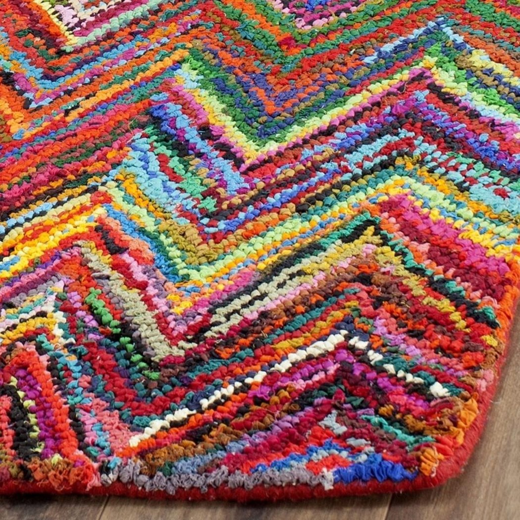 Hand Tufted Chevron Runner Rug Zig Zag Patter Colorful V Shape Art Crafted Work Contemporary Natural Pink - Diamond Home USA