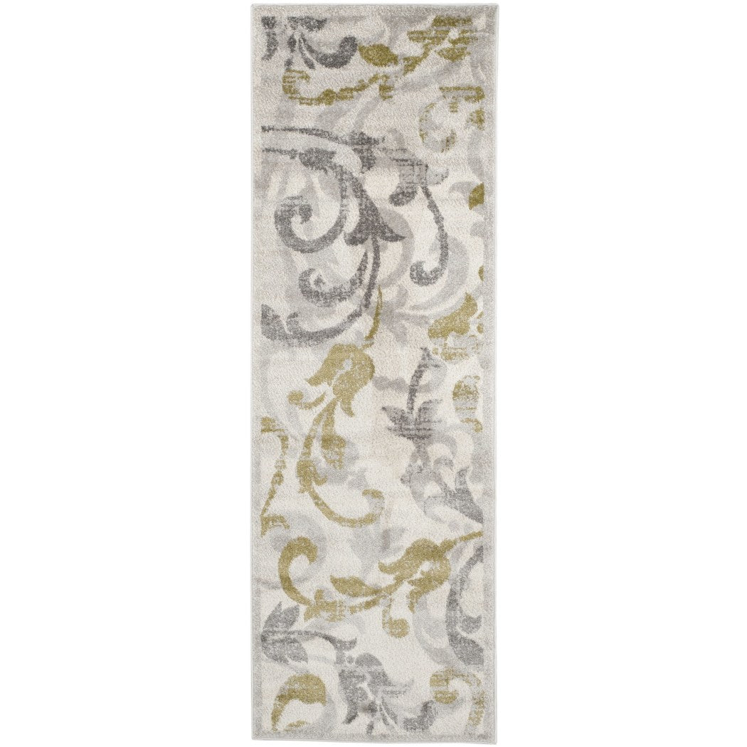 2'3 x 7' Grey Beige Floral Runner Rug Rectangle Light Gray Ivory Oriental Theme Hallway Carpet Scroll Flower Pattern Carpeting Flowers Themed Entryway - Diamond Home USA