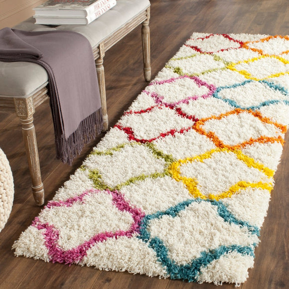 Crafted Kids Trellis Runner Rug (2'3 x 7') Carpet Flooring Colorful Geometric Design Pattern - Diamond Home USA
