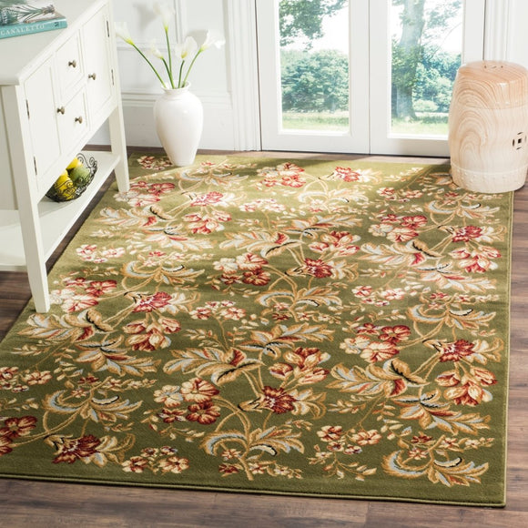 4' x 6' Green Traditional Floral Sage Area Rug Olefin Polypropylene European Design Accented Color Subtle Cute Elegant Flower Rectangular Kitchen - Diamond Home USA