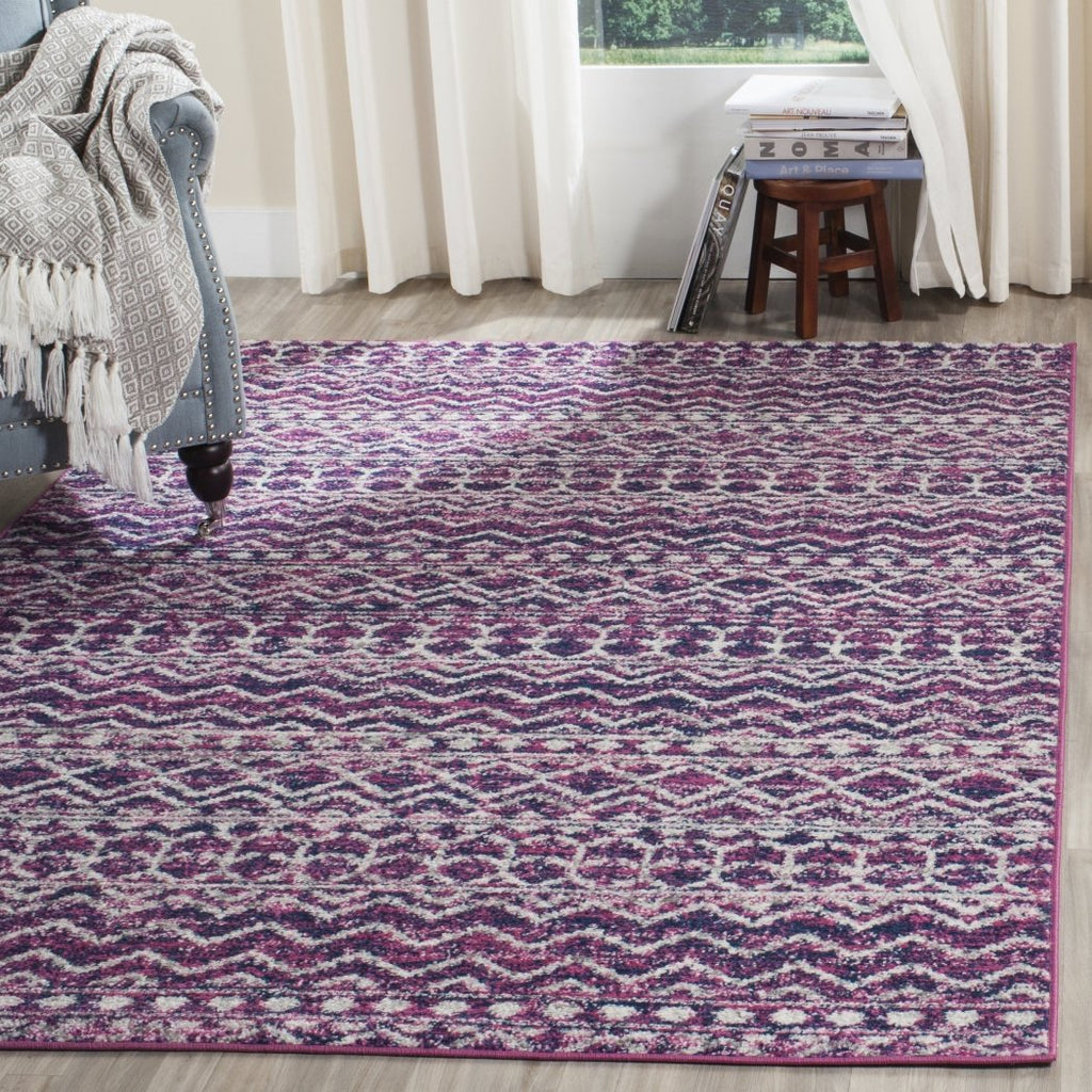 Purple Bohemian Pattern Area Rug (3' x 5') Gorgeous Geometric Stripe Design Theme Abstract Persian Luxurious Comfort Plum Colored Floor Carpet - Diamond Home USA