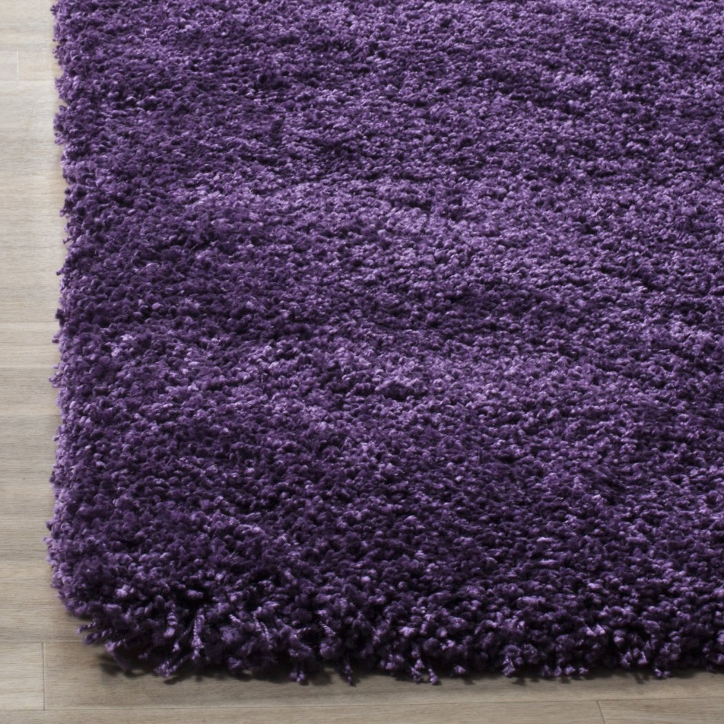 Crafted Purple Shag Woven Area Rug (3' x 5') Bright Solid Pattern Vivid Pop Color Luxurious Comfort Plum Colored Floor Carpet - Diamond Home USA