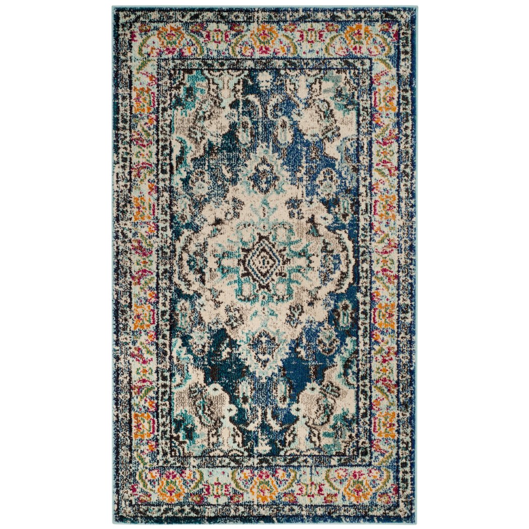 3'x5'ft Navy Light Blue White Orange Colored Bohemian Medallion Distressed Area Rug Indoor Oriental Bedroom Dining Living Room Mat Rectangle Carpet - Diamond Home USA