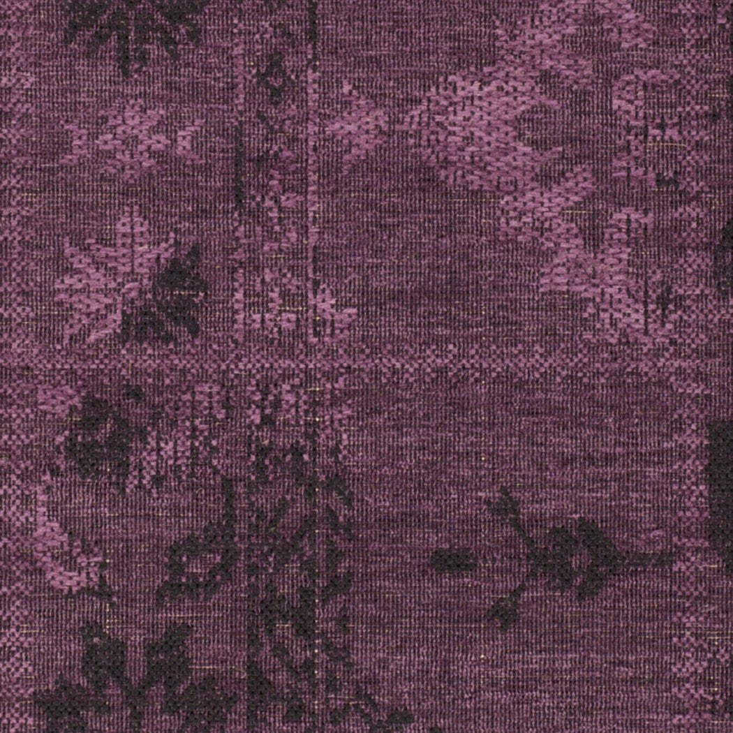 Crafted Purple Over Dyed Chenille Area Rug (4' x 6') Patchwork Geometric Pattern Oriental Luxurious Comfort Plum Colored Floor Carpet - Diamond Home USA