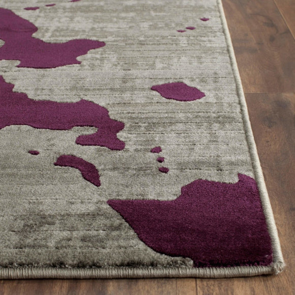 Crafted Purple Geometric Pattern Area Rug (4'1 x 6') Gorgeous Abstract Texture Design Persian Luxurious Comfort Grey Plum Colored Floor Carpet - Diamond Home USA