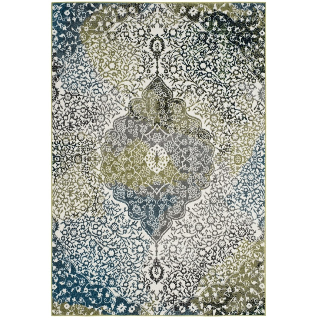 2'7 x 5' Watercolor Bohemian Medallion Peacock Blue Area Rug Polypropylene Vibrant Abstract Soft Plush Blue Green Ivory Color Paint Rectangle - Diamond Home USA