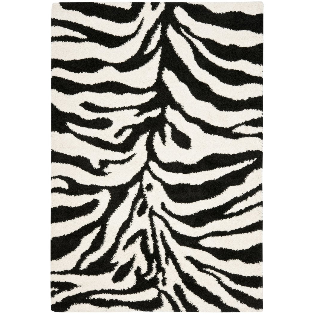 LO 1 Piece 4 x 6 White Ivory Black Zebra Stripes Area Rug Rectangle Indoor Animal Zebra Shag Carpet Mat Animal Safari Striped Pattern Elegant Novelty Contemporary Polypropylene - Diamond Home USA