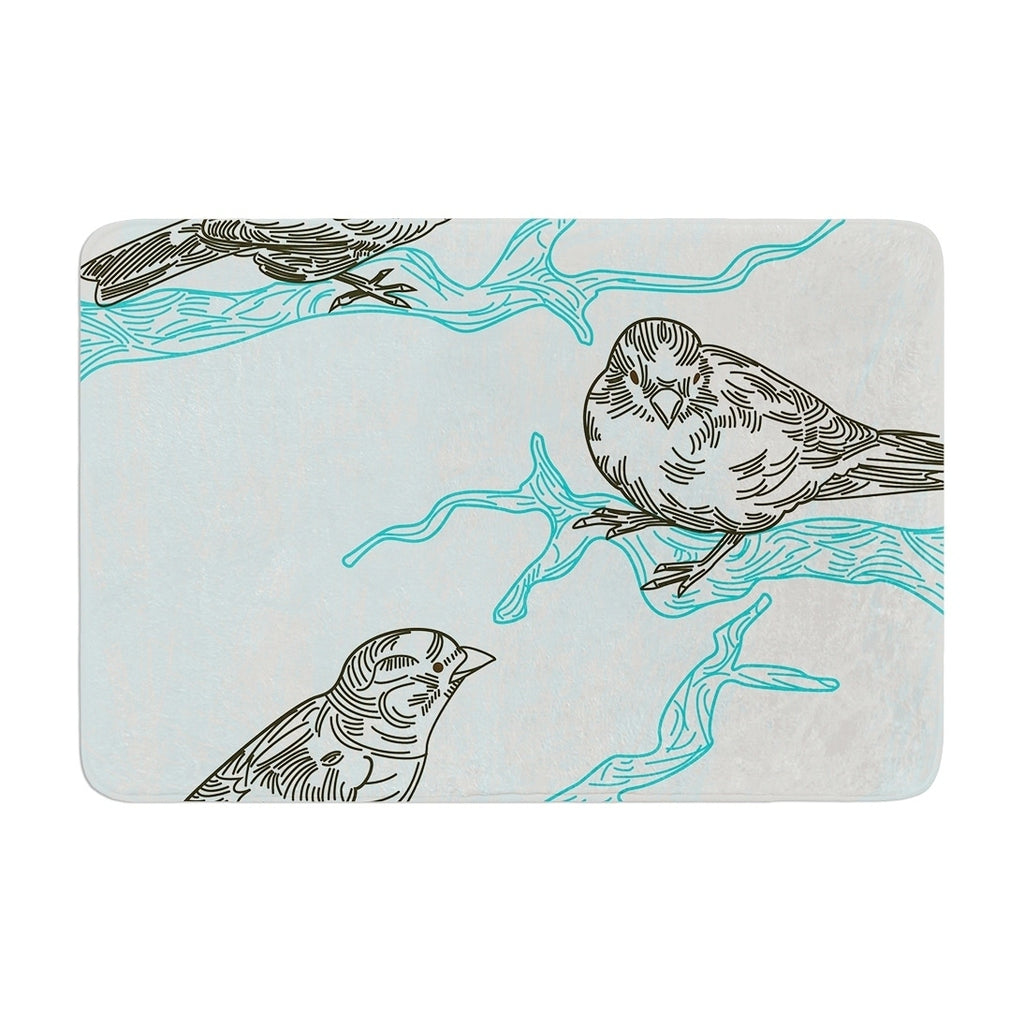 "Sam Posnick ""Birds In Trees"" Memory Foam Bath Mat Blue Single Piece - Diamond Home USA"