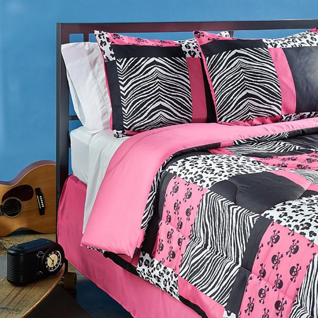 Girls Pink Black White Animal Comforter Queen Set Chic Trendy Skull Patchwork Theme Bedding Girly Fun Patch Work Zebra Cheetah Leopard Skulls Themed - Diamond Home USA