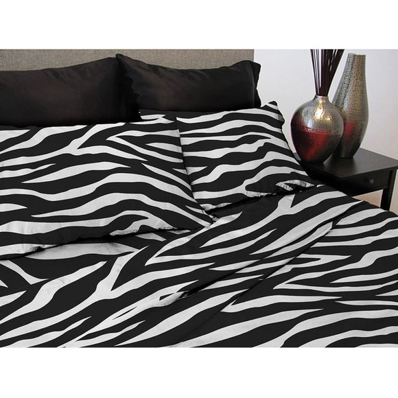 Girls Zebra Sheet Set Wild Animal Zoo Jungle Exotic Animals Pattern Kids Bedding Bedroom Casual Contemporary African