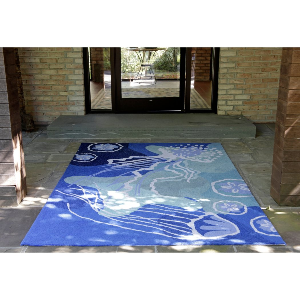 5x7'6 Blue White Ocean Jellyfish Area Rug Rectangle Indoor/Outdoor Navy Nautical Jelly Fish Carpet Living Room Coastal Beach Floor Mat Ocean Sea - Diamond Home USA