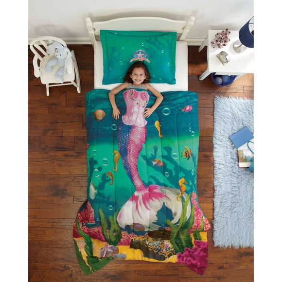 Girls Mermaid Princess Comforter Twin Set Cute Bubbles Underwater Sea Shell Life Bedding Aqua Under Water Ocean Seahorse Treasure Chest Coral Reef - Diamond Home USA
