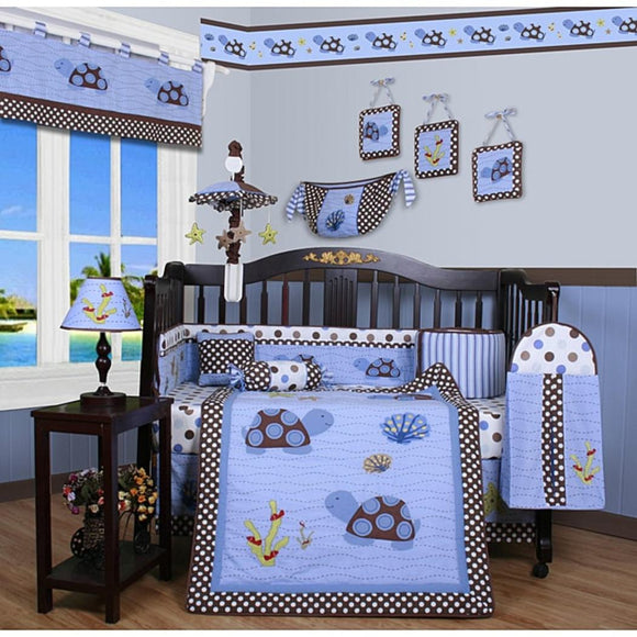 GEENNY Boutique Crib Bedding Set Sea Turtle 13 Piece - Diamond Home USA