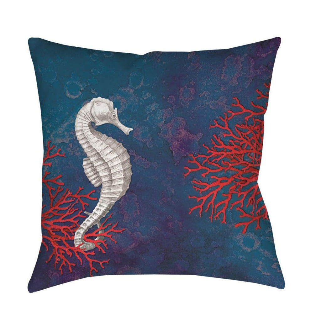 Beach Themed Sea Horse Throw Pillow Coastal Pattern Square Shape Accent Type Polyester Casual Nautical Spot Clean All Seasons