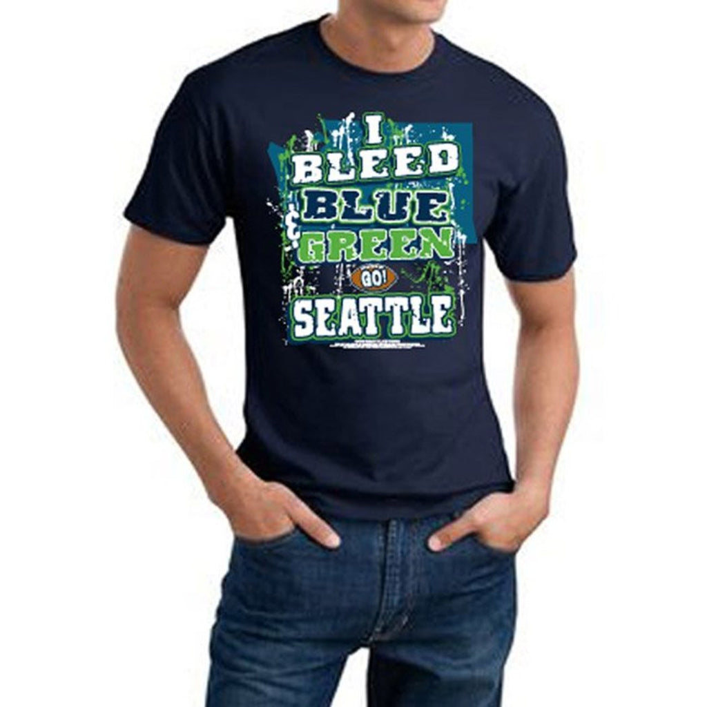 Mens NFL Seahawks T Shirt Extra Large Double Football Sports Tee Football Themed Clothing I Bleed Slogan Team