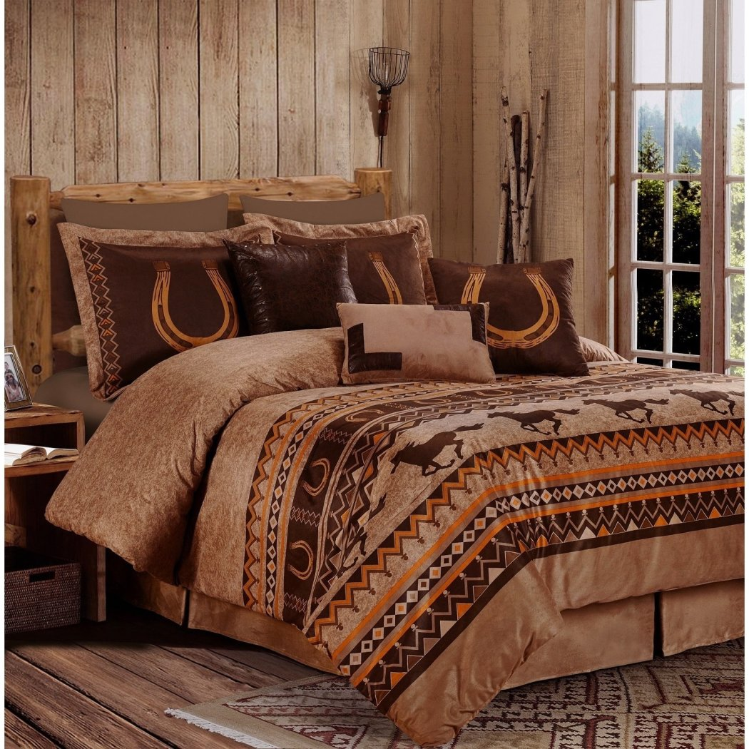 South Western Horses Themed Comforter Set Lucky Horse Shoe Ranch Southwest Galloping Stallion Country Bedding en