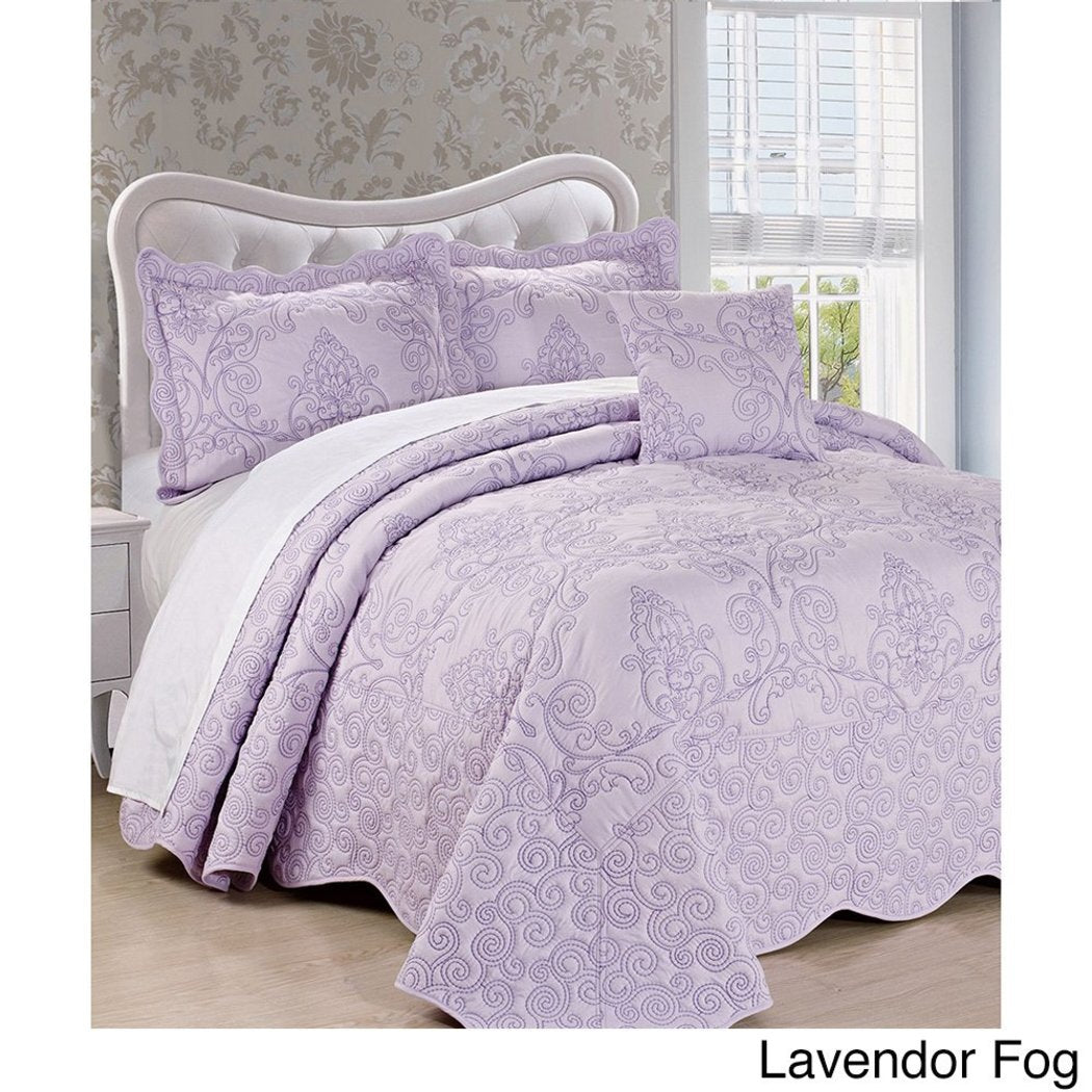 Oversized Damask Bedspread Set French Country Shabby Chic Floral Pattern Luxury Bedding Floor Drapes Over Edge Scalloped Edges