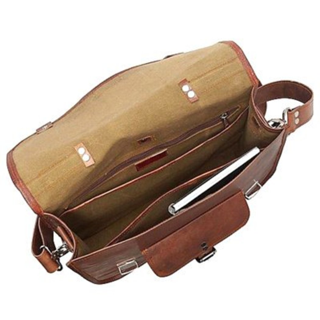 Brown Genuine Leather Contractor Briefcase Backpack Laptop Bag Professionals - Diamond Home USA